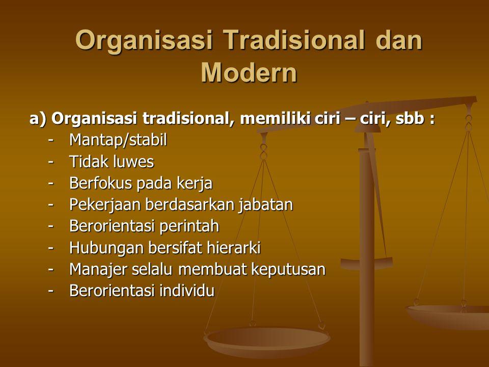 Organisasi Tradisional dan Modern