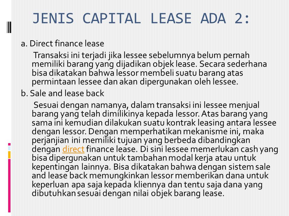 JENIS CAPITAL LEASE ADA 2: