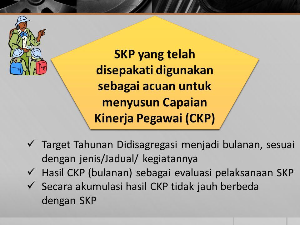 SKP yang telah disepakati digunakan sebagai acuan untuk menyusun Capaian Kinerja Pegawai (CKP)