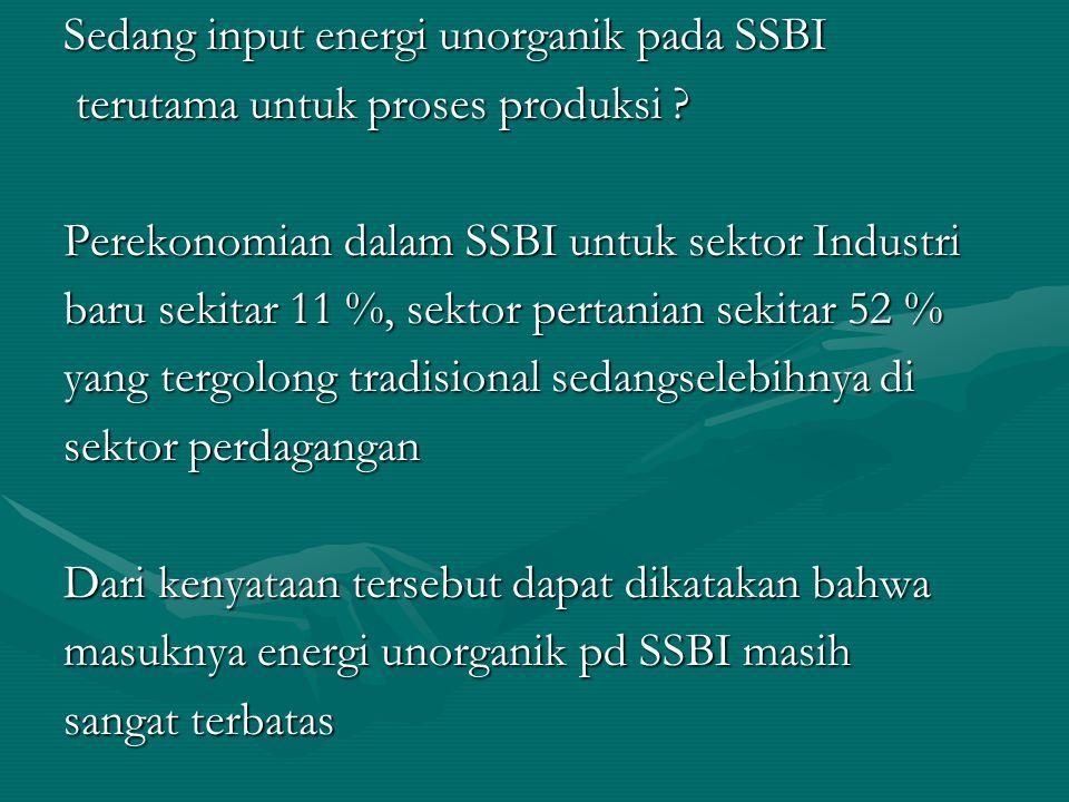 Sedang input energi unorganik pada SSBI terutama untuk proses produksi