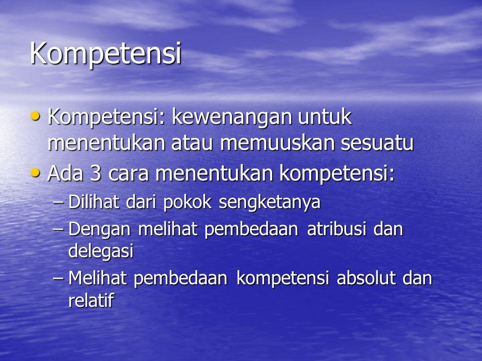 Kompetensi Kompetensi: kewenangan untuk menentukan atau memuuskan sesuatu. Ada 3 cara menentukan kompetensi: