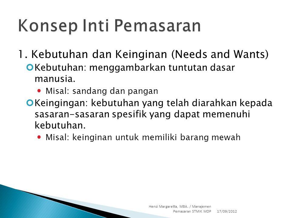 Konsep Inti Pemasaran 1. Kebutuhan dan Keinginan (Needs and Wants)