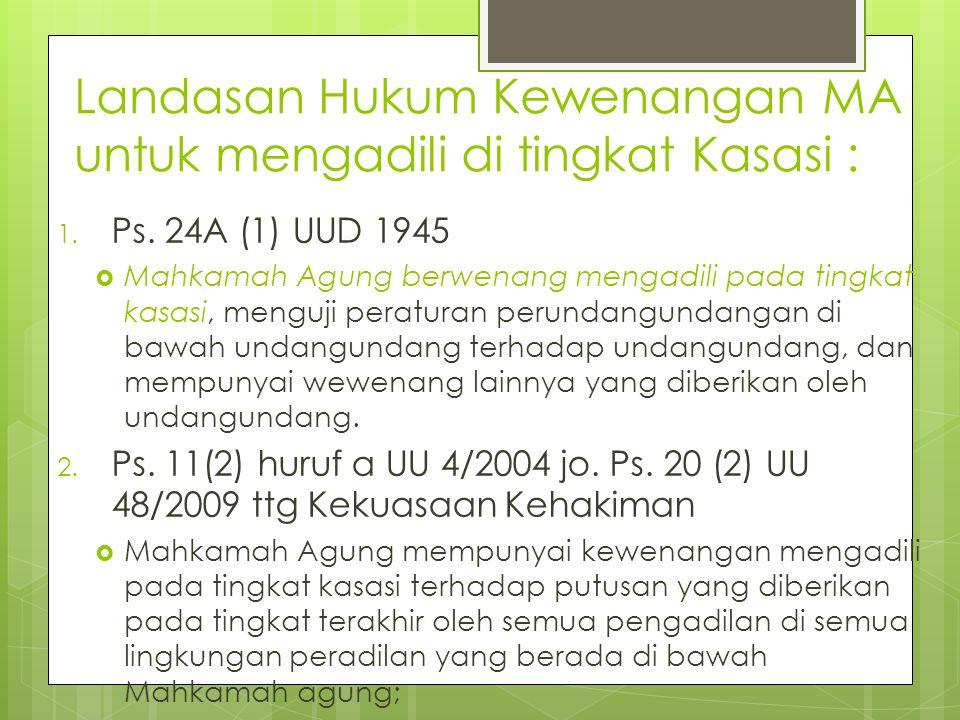 Landasan Hukum Kewenangan MA untuk mengadili di tingkat Kasasi :