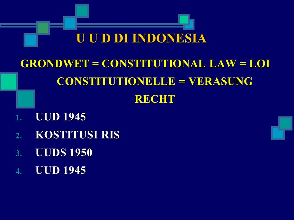 GRONDWET = CONSTITUTIONAL LAW = LOI CONSTITUTIONELLE = VERASUNG RECHT