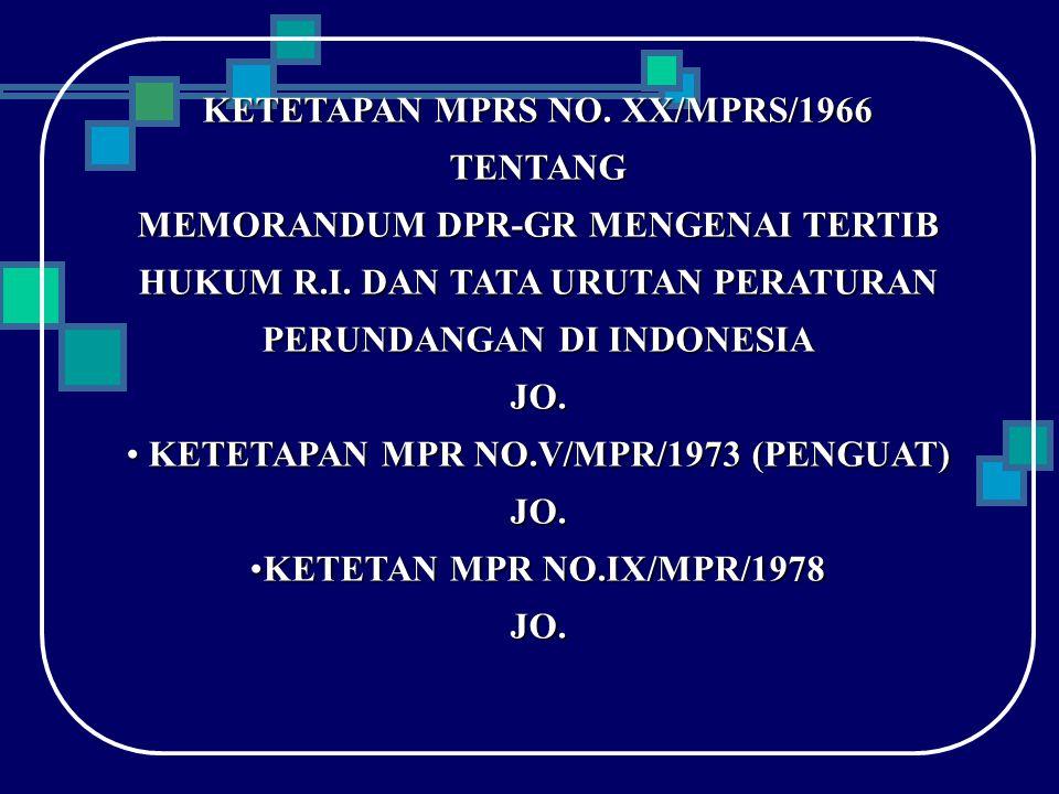 KETETAPAN MPRS NO. XX/MPRS/1966 KETETAPAN MPR NO.V/MPR/1973 (PENGUAT)