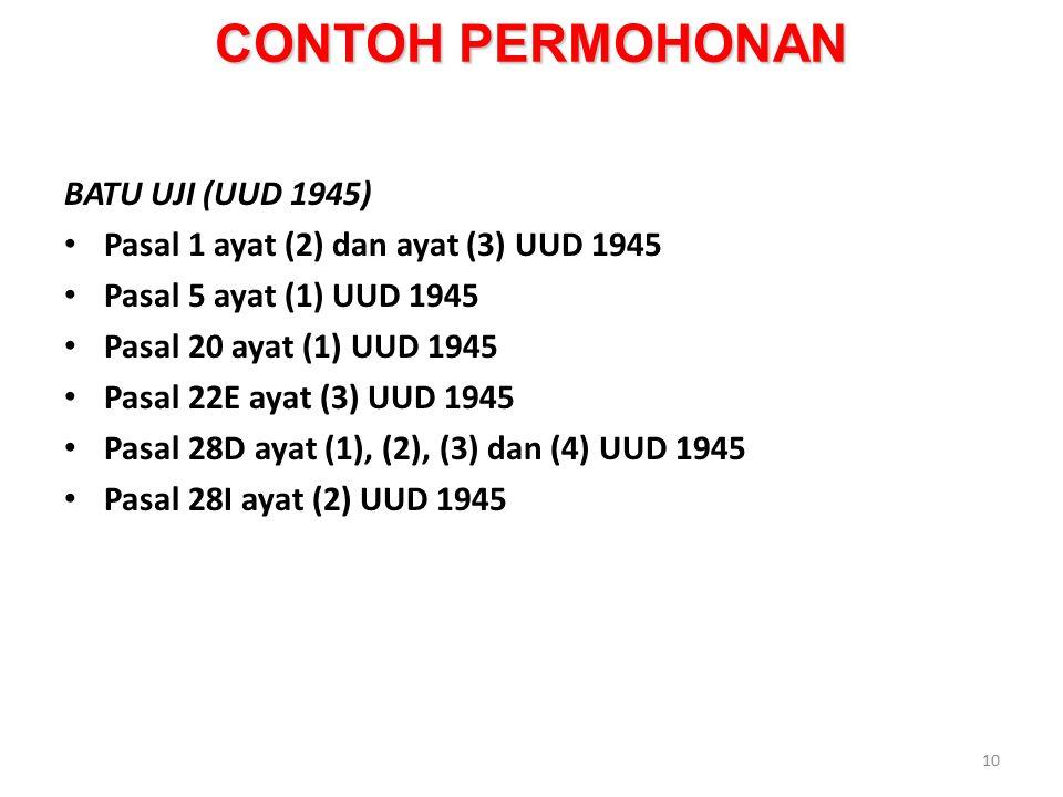 CONTOH PERMOHONAN BATU UJI (UUD 1945)