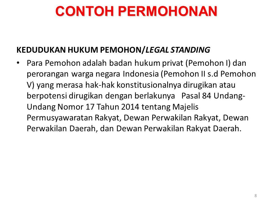 CONTOH PERMOHONAN KEDUDUKAN HUKUM PEMOHON/LEGAL STANDING