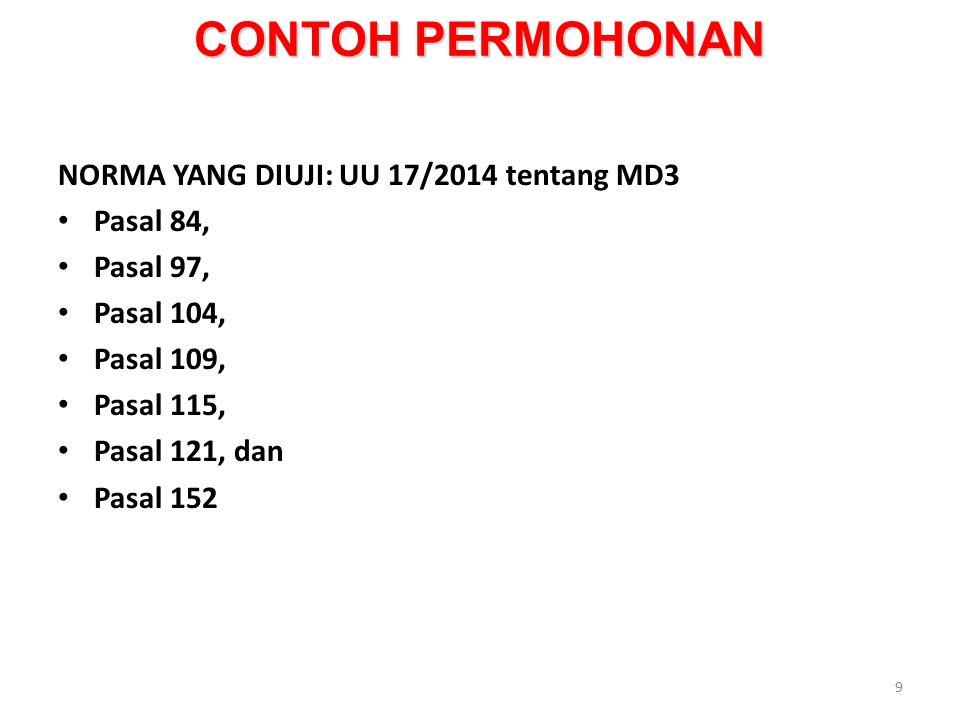 CONTOH PERMOHONAN NORMA YANG DIUJI: UU 17/2014 tentang MD3 Pasal 84,