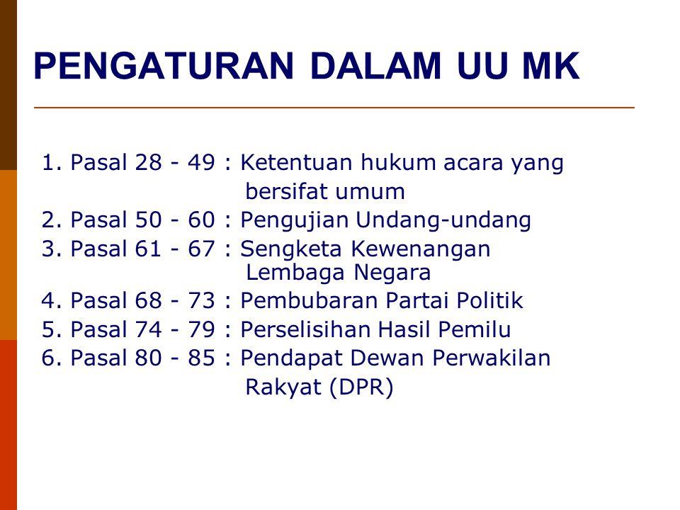 PENGATURAN DALAM UU MK 1. Pasal 28 - 49 : Ketentuan hukum acara yang