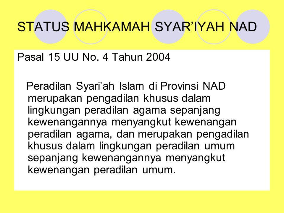 STATUS MAHKAMAH SYAR'IYAH NAD
