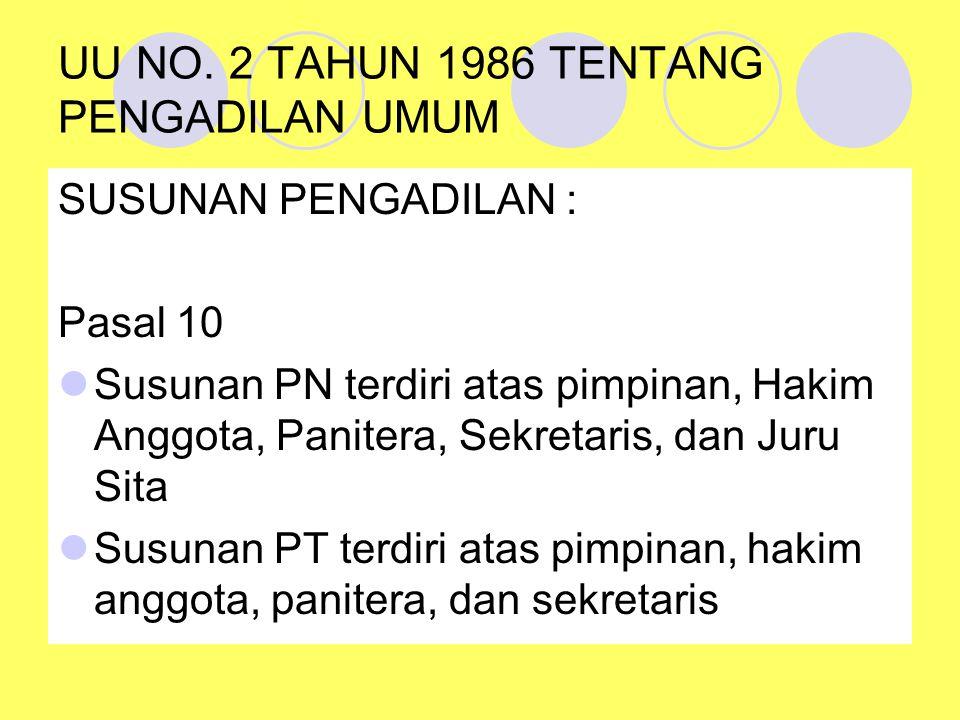 UU NO. 2 TAHUN 1986 TENTANG PENGADILAN UMUM