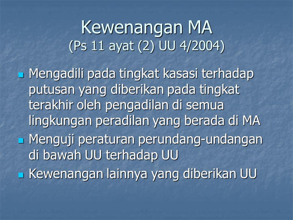 Kewenangan MA (Ps 11 ayat (2) UU 4/2004)