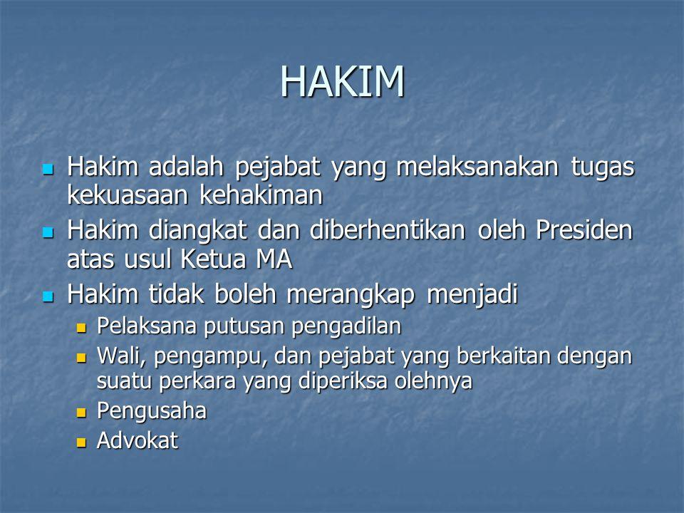 HAKIM Hakim adalah pejabat yang melaksanakan tugas kekuasaan kehakiman