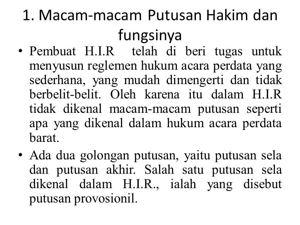 1. Macam-macam Putusan Hakim dan fungsinya