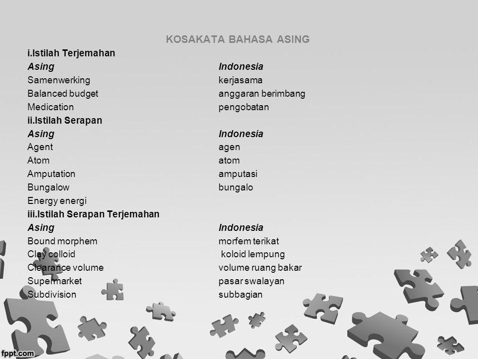 KOSAKATA BAHASA ASING i.Istilah Terjemahan Asing Indonesia
