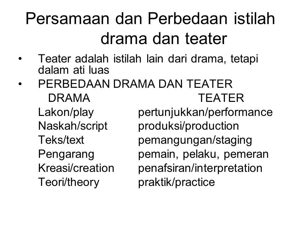 Persamaan dan Perbedaan istilah drama dan teater