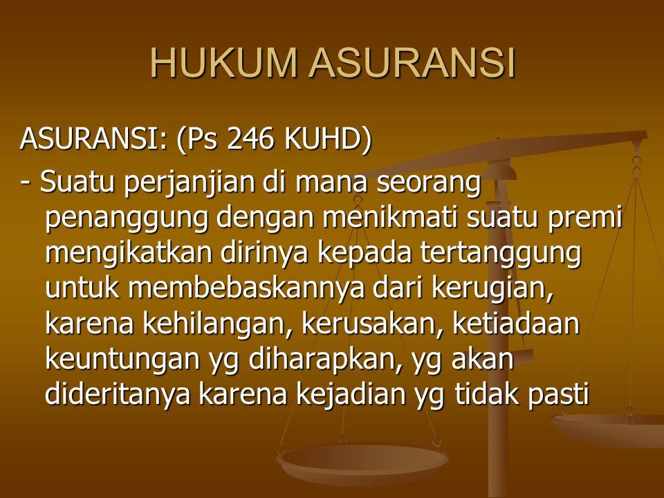 HUKUM ASURANSI ASURANSI: (Ps 246 KUHD)