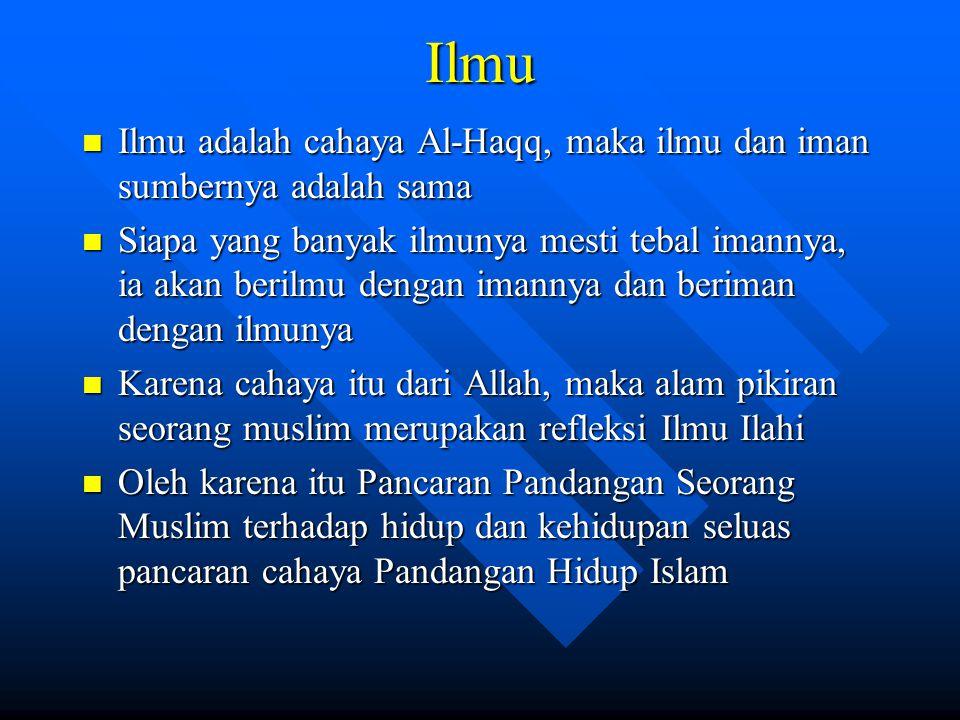 Ilmu Ilmu adalah cahaya Al-Haqq, maka ilmu dan iman sumbernya adalah sama.