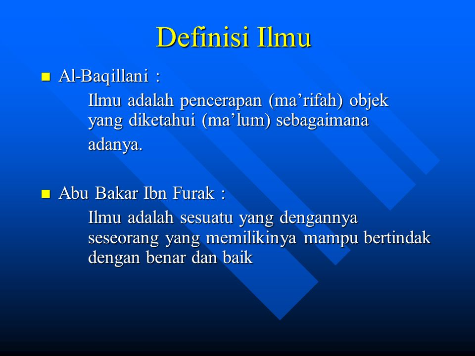 Definisi Ilmu Al-Baqillani :