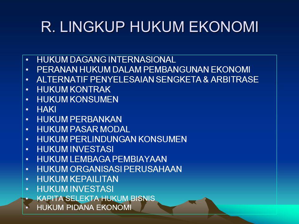 R. LINGKUP HUKUM EKONOMI