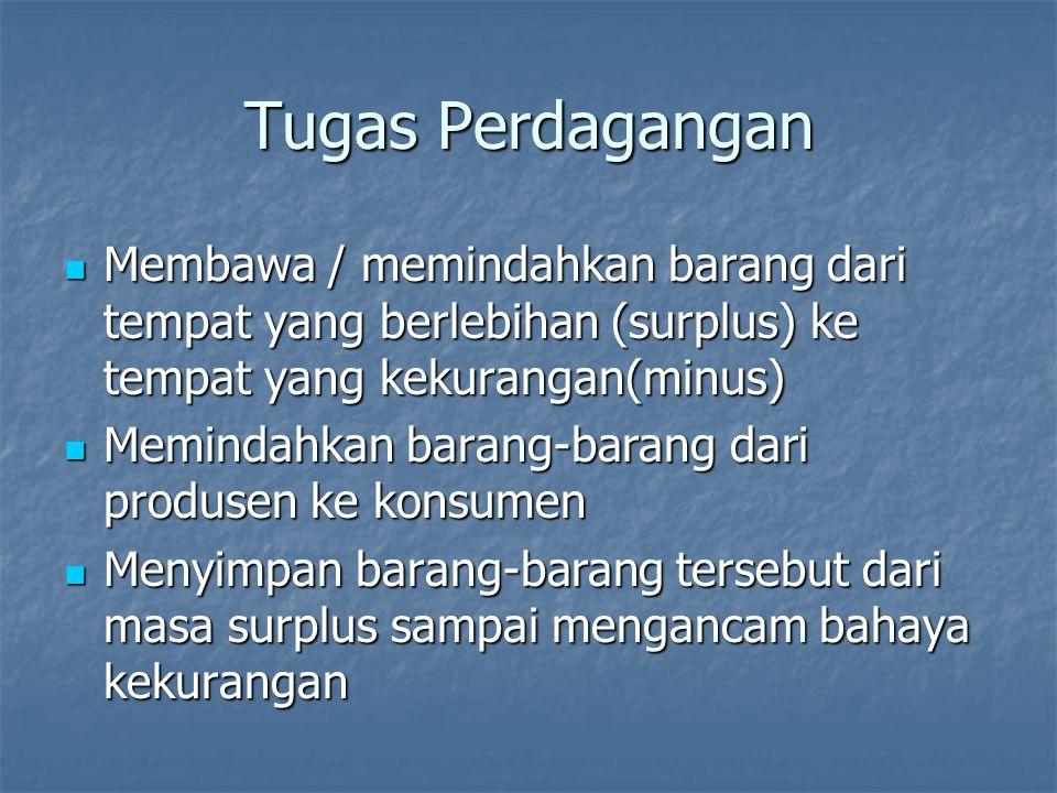 Tugas Perdagangan Membawa / memindahkan barang dari tempat yang berlebihan (surplus) ke tempat yang kekurangan(minus)