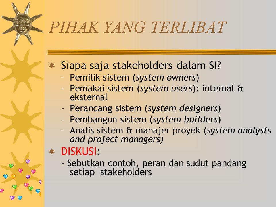 PIHAK YANG TERLIBAT Siapa saja stakeholders dalam SI DISKUSI: