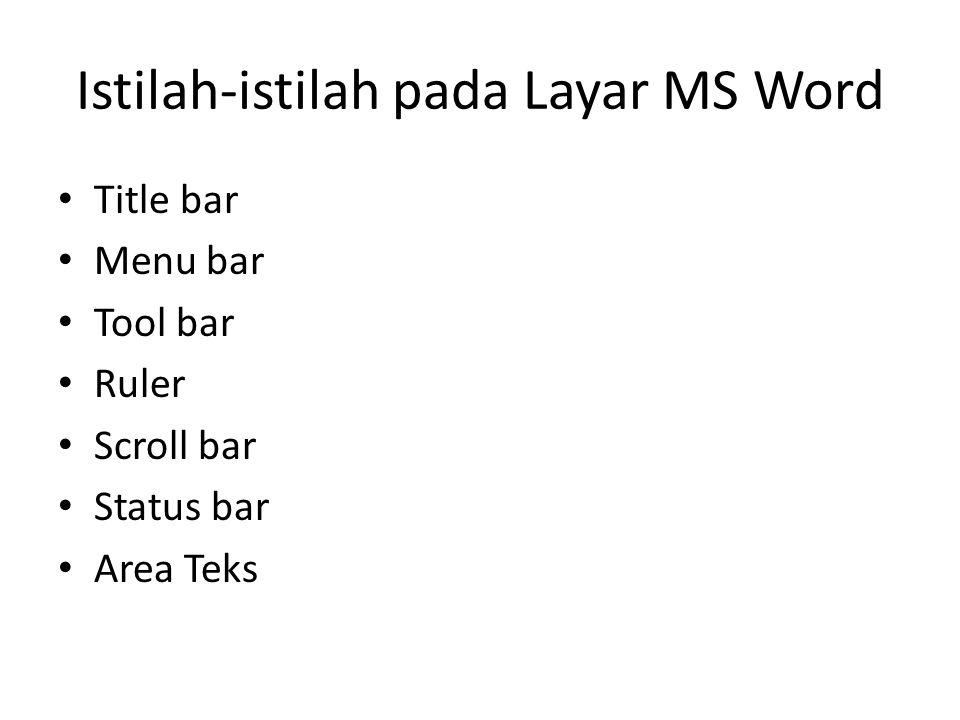 Istilah-istilah pada Layar MS Word