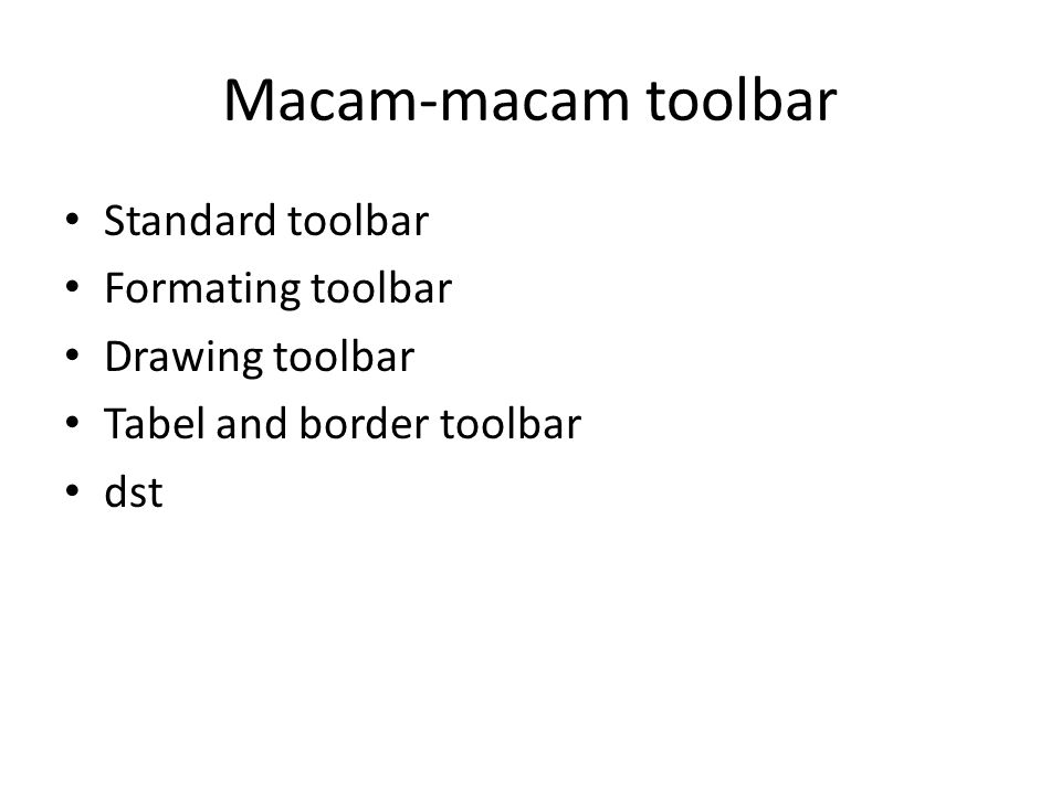 Macam-macam toolbar Standard toolbar Formating toolbar Drawing toolbar