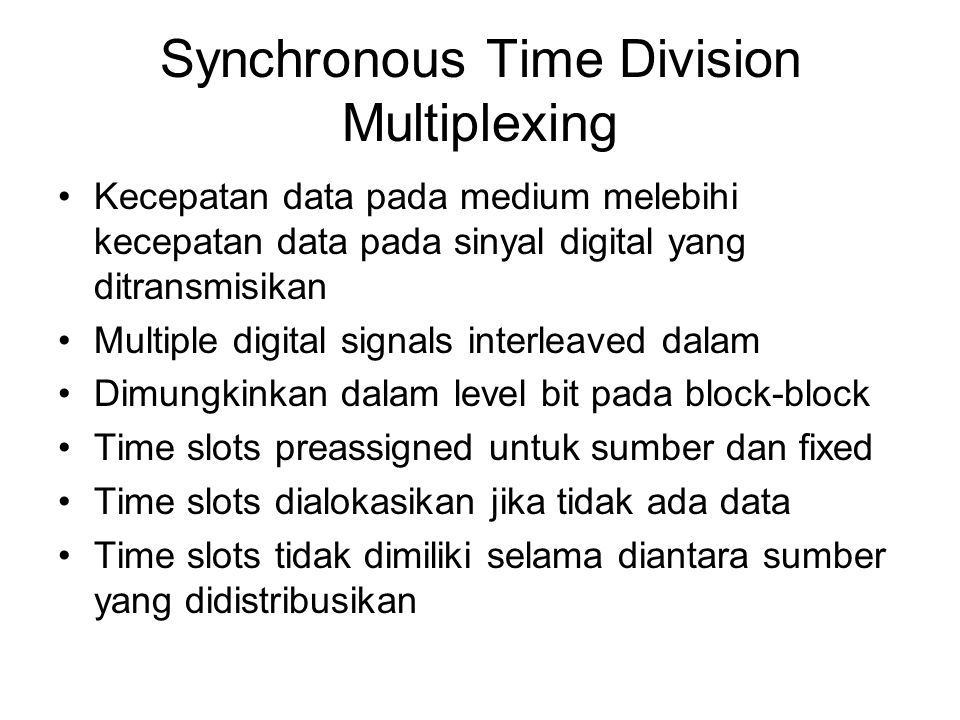 Synchronous Time Division Multiplexing