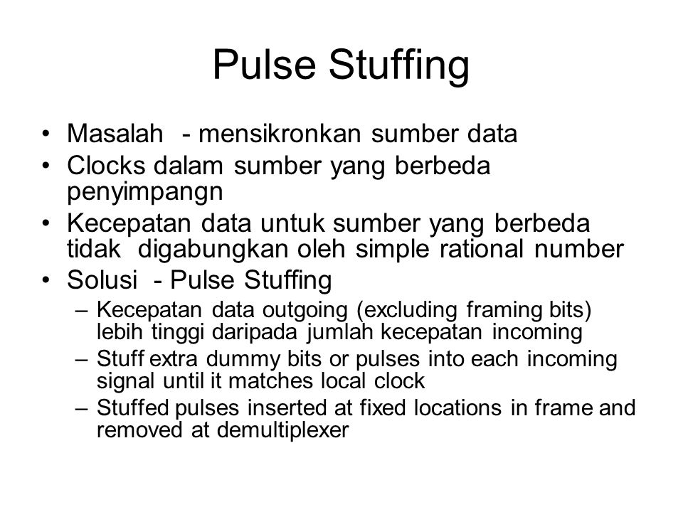 Pulse Stuffing Masalah - mensikronkan sumber data