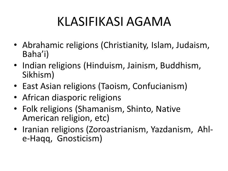 KLASIFIKASI AGAMA Abrahamic religions (Christianity, Islam, Judaism, Baha'i) Indian religions (Hinduism, Jainism, Buddhism, Sikhism)