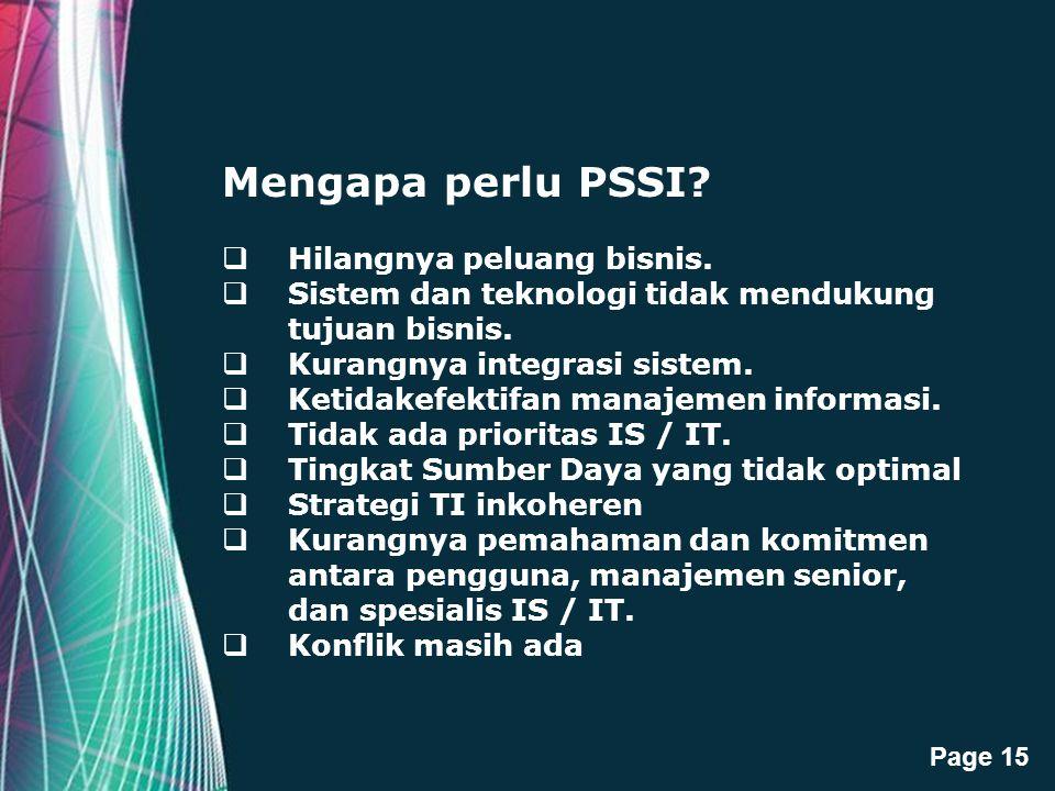 Mengapa perlu PSSI Hilangnya peluang bisnis.