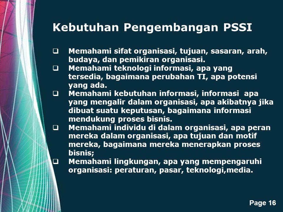 Kebutuhan Pengembangan PSSI