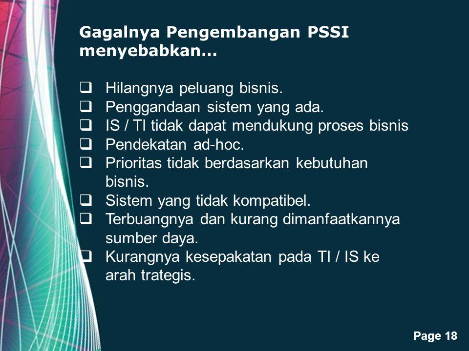 Gagalnya Pengembangan PSSI menyebabkan…