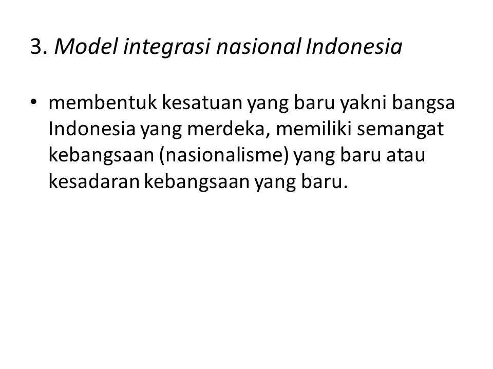 3. Model integrasi nasional Indonesia