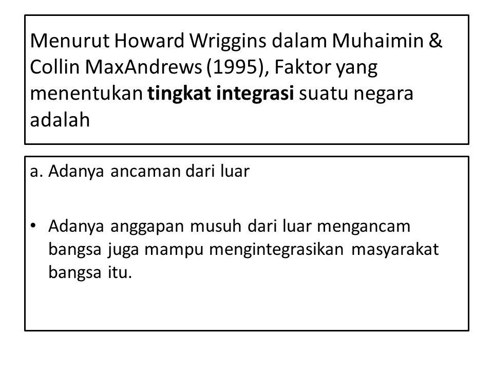 Menurut Howard Wriggins dalam Muhaimin & Collin MaxAndrews (1995), Faktor yang menentukan tingkat integrasi suatu negara adalah