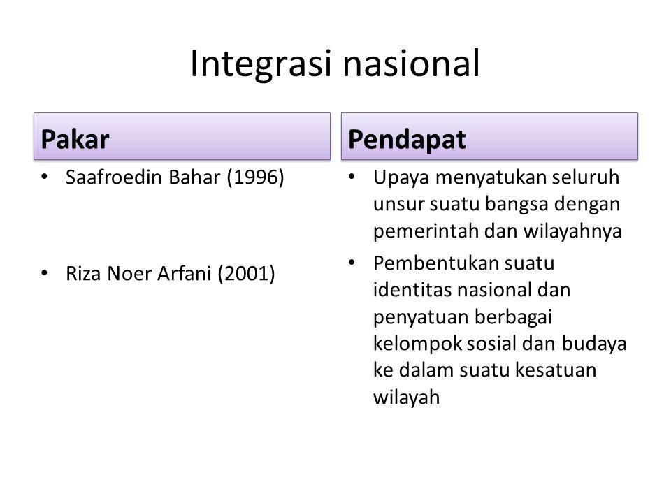 Integrasi nasional Pakar Pendapat Saafroedin Bahar (1996)