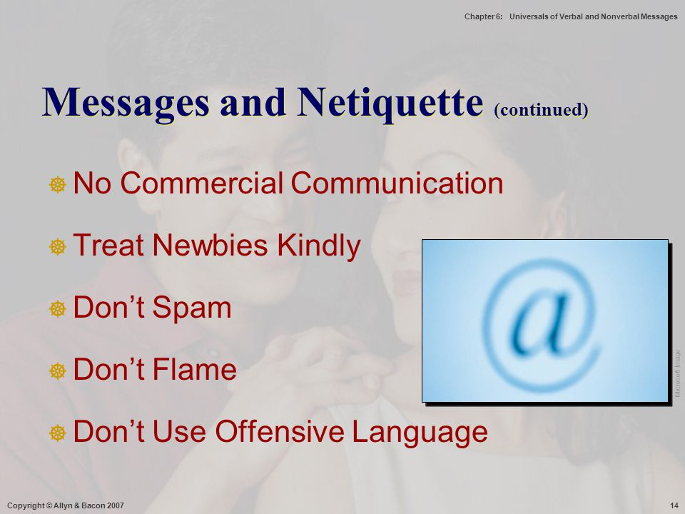 Messages and Netiquette (continued)