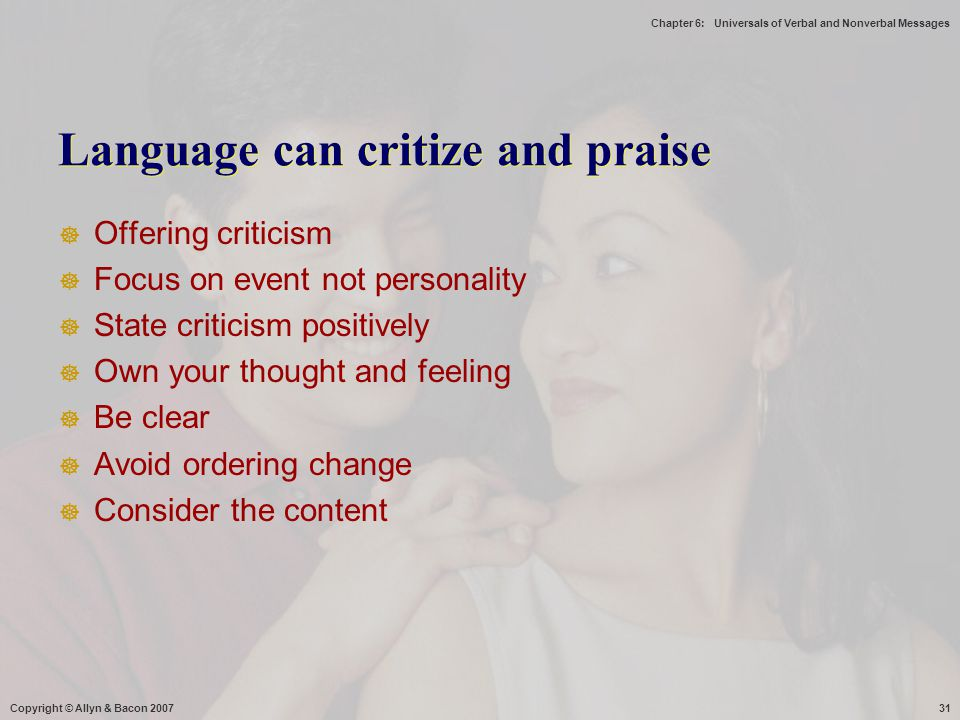 Language can critize and praise