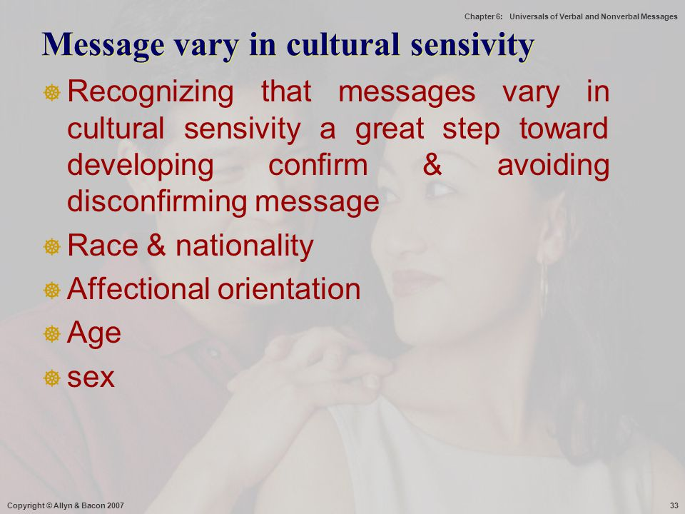 Message vary in cultural sensivity