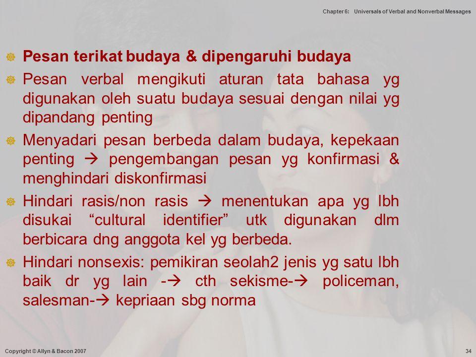 Pesan terikat budaya & dipengaruhi budaya
