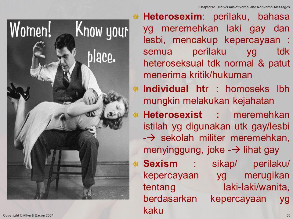 Individual htr : homoseks lbh mungkin melakukan kejahatan