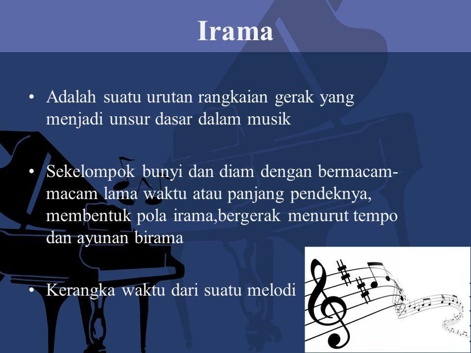 Irama Adalah suatu urutan rangkaian gerak yang menjadi unsur dasar dalam musik.