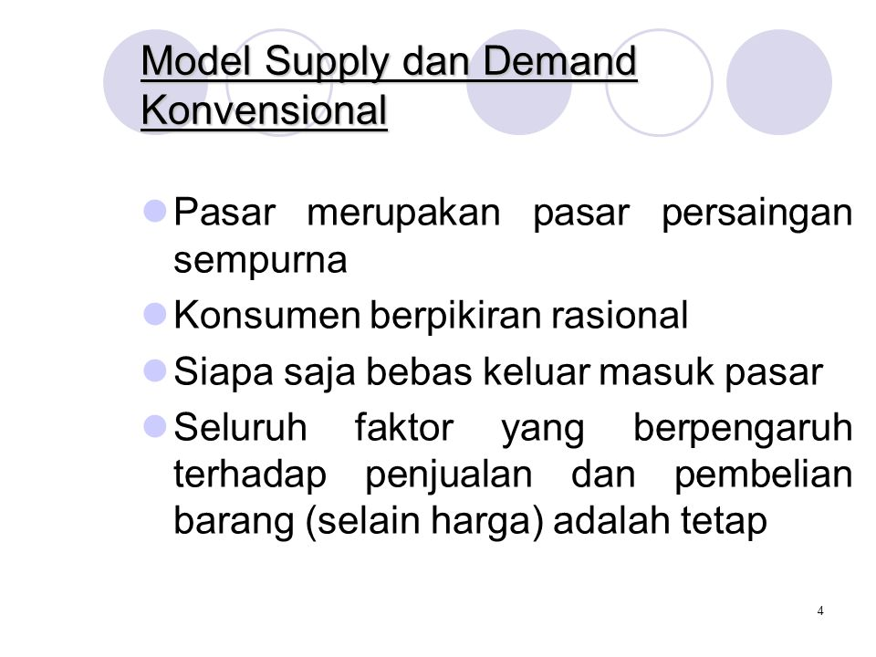 Model Supply dan Demand Konvensional