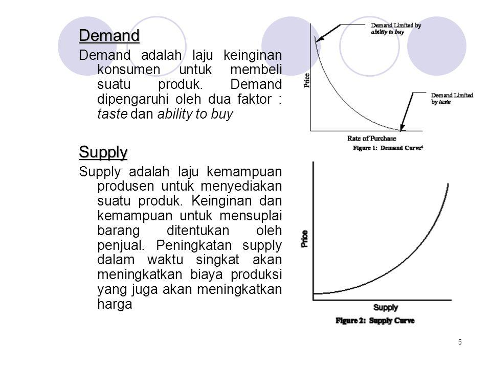Demand Demand adalah laju keinginan konsumen untuk membeli suatu produk. Demand dipengaruhi oleh dua faktor : taste dan ability to buy.