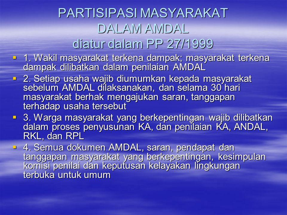 PARTISIPASI MASYARAKAT DALAM AMDAL diatur dalam PP 27/1999