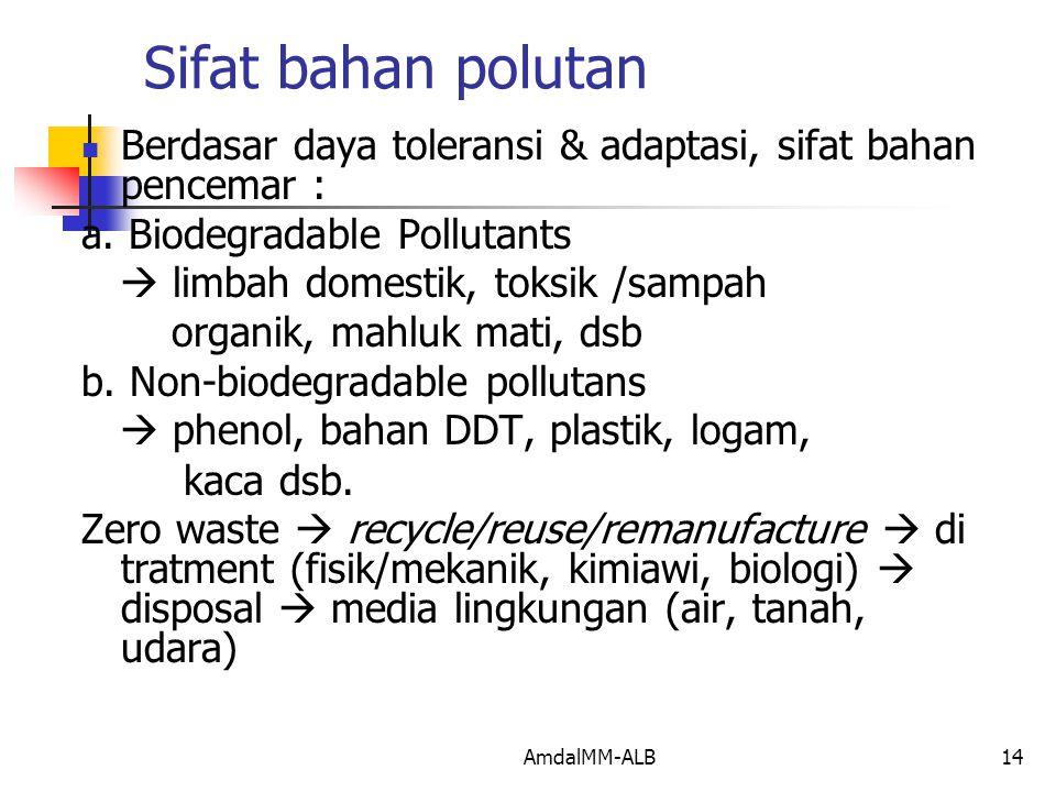 Sifat bahan polutan Berdasar daya toleransi & adaptasi, sifat bahan pencemar : a. Biodegradable Pollutants.