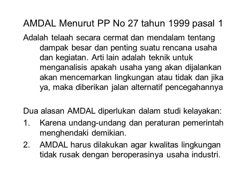 AMDAL Menurut PP No 27 tahun 1999 pasal 1