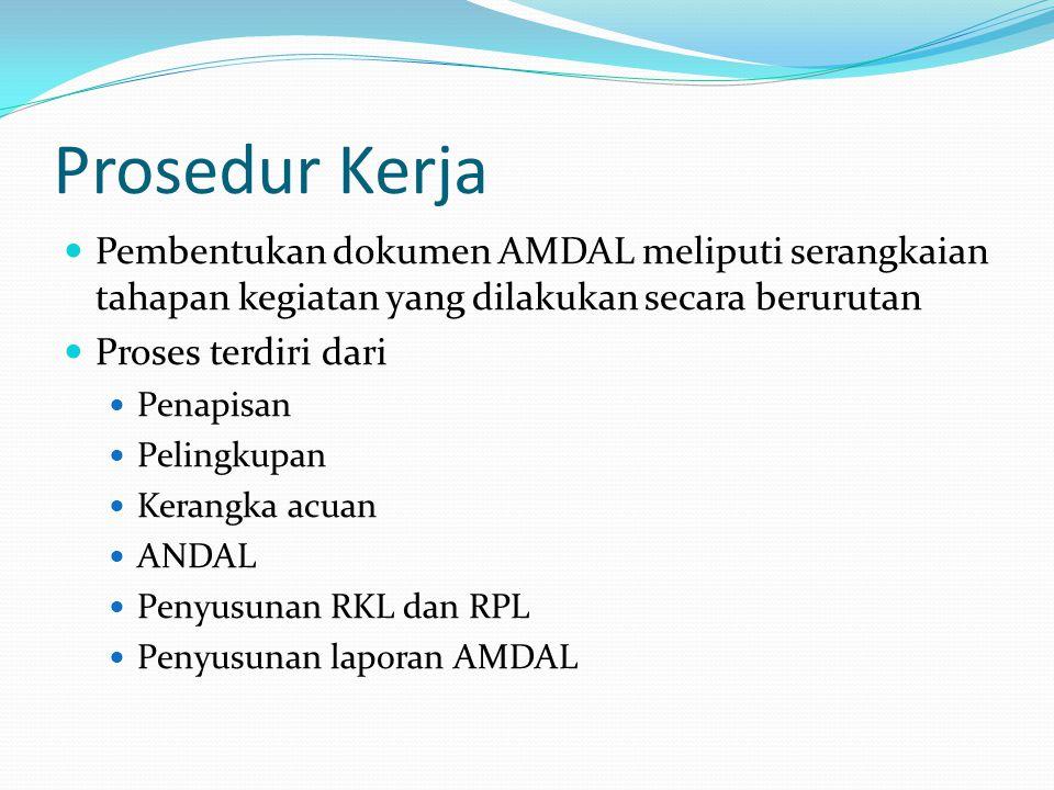 Prosedur Kerja Pembentukan dokumen AMDAL meliputi serangkaian tahapan kegiatan yang dilakukan secara berurutan.