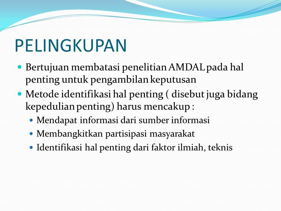 PELINGKUPAN Bertujuan membatasi penelitian AMDAL pada hal penting untuk pengambilan keputusan.